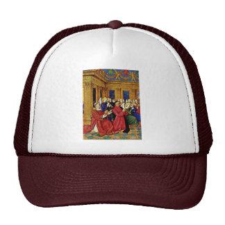 Portrait Of The à ‰ Tienne Chevalier With His Patr Mesh Hats