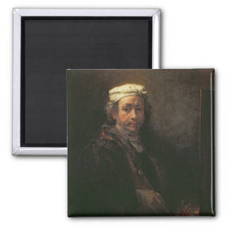 Portrait of the Artist at his Easel, 1660 2 Inch Square Magnet