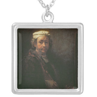 Portrait of the Artist at his Easel, 1660 Square Pendant Necklace