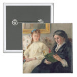 Portrait of the Artist's mother and sister 2 Inch Square Button