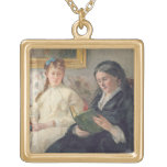 Portrait of the Artist's mother and sister Square Pendant Necklace