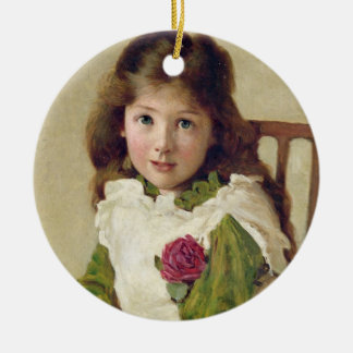 Portrait of the Artist's Daughter (oil on canvas) Ceramic Ornament