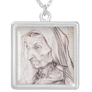 Portrait of the artist's mother, 1514 square pendant necklace