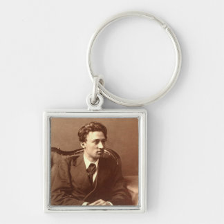 Portrait of the author Silver-Colored square keychain