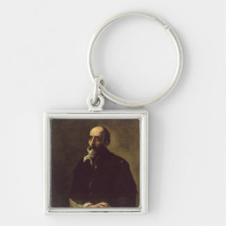 Portrait of the Blind Sculptor, Gambazo  1632 Silver-Colored Square Keychain
