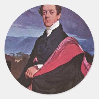 Portrait Of The Count Guryev By Ingres Jean August Round Stickers