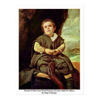 Portrait Of The Court Dwarf Francisco Lezcano Postcard