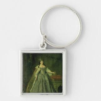 Portrait of the Empress Anna Ivanovna  1730 Silver-Colored Square Keychain