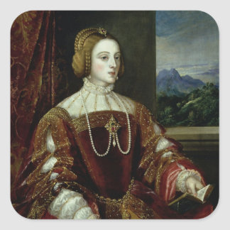 Portrait of the Empress Isabella of Portugal Square Sticker