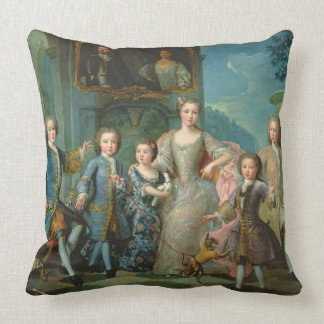 Portrait of the Family of the Duke of Valentinois Throw Pillows