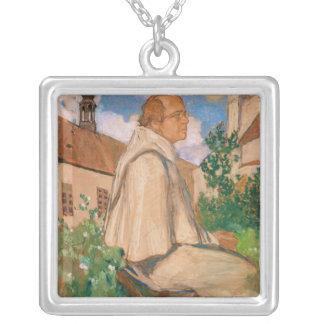 Portrait of the geneticist Johann Gregor Silver Plated Necklace