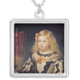 Portrait of the Infanta Maria Marguerita  1654 Silver Plated Necklace