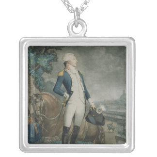 Portrait of the Marquis de La Fayette Silver Plated Necklace