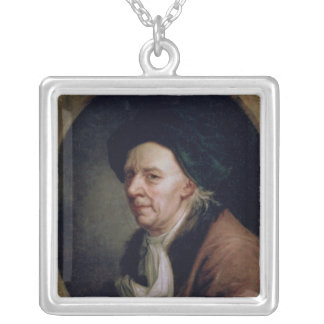 Portrait of the Mathematician Leonard Euler Silver Plated Necklace