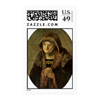 Portrait Of The Mother Rembrandt Oval By Rembrandt Postage