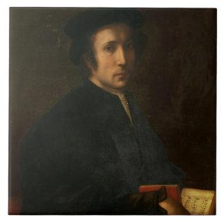 Portrait of the Musician Francesco dell'Ajolle, c. Ceramic Tile