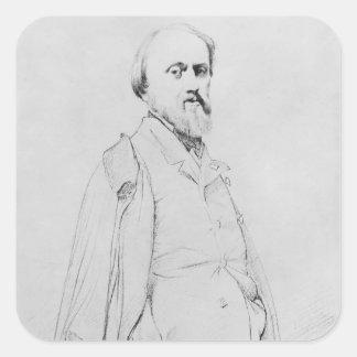 Portrait of the painter Hippolyte Flandrin Square Sticker
