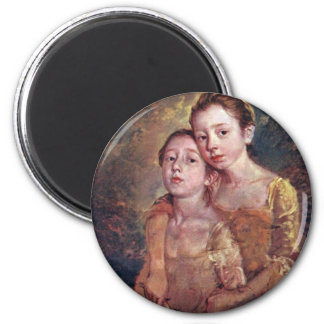 Portrait Of The Painter'S Daughters With A Cat 2 Inch Round Magnet