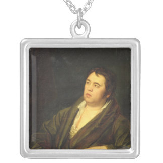 Portrait of the poet Ivan A. Krylov, 1812 Silver Plated Necklace