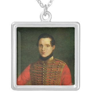 Portrait of the Poet Michail Lermontov Silver Plated Necklace