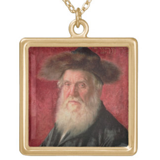 Portrait of the Rabbi of Nadvorno, c.1910 (oil on Square Pendant Necklace