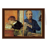 Portrait Of The Sculptor Aubé And His Son Greeting Card