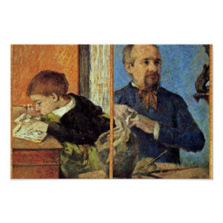 Portrait Of The Sculptor Aubé And His Son Print