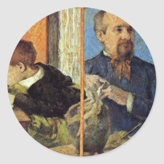 Portrait Of The Sculptor Aubé And His Son Classic Round Sticker