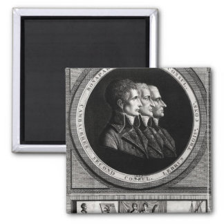 Portrait of the Three Consuls of the Republic 2 Inch Square Magnet