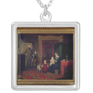 Portrait of the Van Cortland Family, c.1830 Silver Plated Necklace