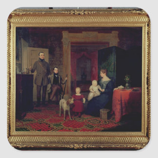 Portrait of the Van Cortland Family, c.1830 Square Sticker