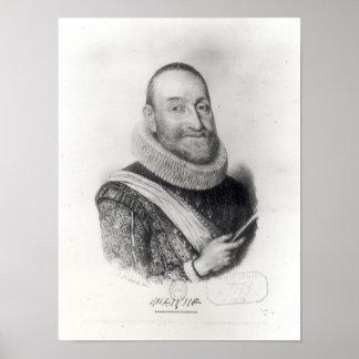 Portrait of Theodore Agrippa d'Aubigne Poster