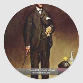 Portrait Of Théodore Duret By Manet Edouard Classic Round Sticker