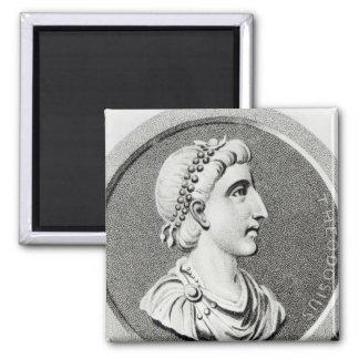 Portrait of Theodosius 2 Inch Square Magnet