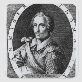 Portrait of Thomas Cavendish Square Sticker