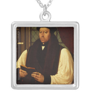 Portrait of Thomas Cranmer  1546 Silver Plated Necklace