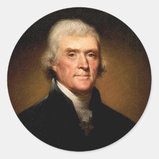 Portrait of Thomas Jefferson by Rembrandt Peale Classic Round Sticker