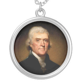 Portrait of Thomas Jefferson by Rembrandt Peale Silver Plated Necklace