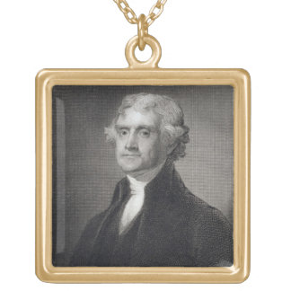 Portrait of Thomas Jefferson, engraved by Henry Br Gold Plated Necklace