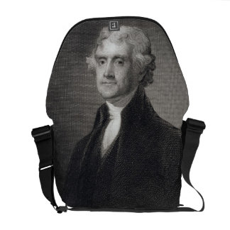 Portrait of Thomas Jefferson, engraved by Henry Br Messenger Bag