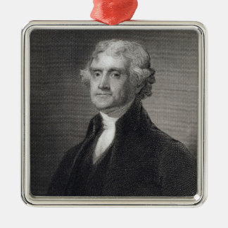 Portrait of Thomas Jefferson, engraved by Henry Br Metal Ornament