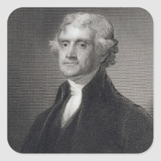 Portrait of Thomas Jefferson, engraved by Henry Br Square Sticker