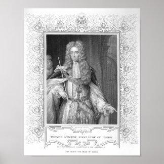 Portrait of Thomas Osborne, engraving Poster