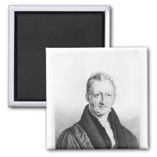 Portrait of Thomas Robert Malthus 2 Inch Square Magnet