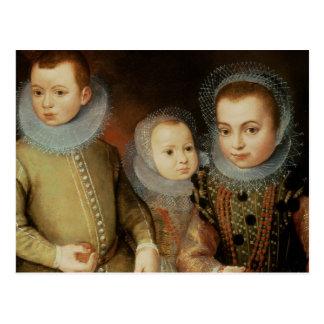 Portrait of Three Tudor Children Postcard
