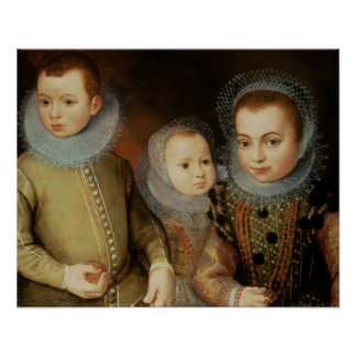 Portrait of Three Tudor Children Poster