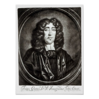 Portrait of Titus Oates  engraved by R. Thompson Poster
