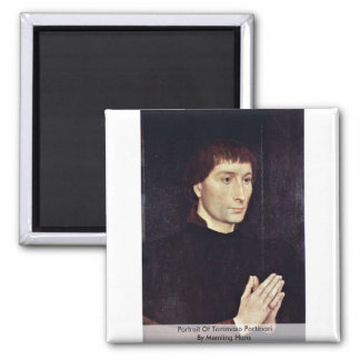 Portrait Of Tommaso Portinari By Memling Hans 2 Inch Square Magnet
