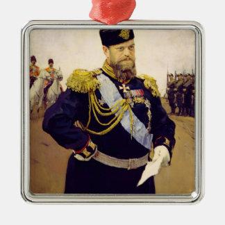 Portrait of Tsar Alexander III, 1900 Metal Ornament