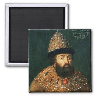 Portrait of Tsar Alexei I Mihailovitch 2 Inch Square Magnet